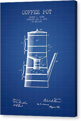 Drawing Of Lovers Canvas Print - 1892 Coffee Pot Patent - Blueprint by Aged Pixel
