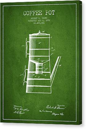 Drawing Of Lovers Canvas Print - 1892 Coffee Pot Patent - Green by Aged Pixel