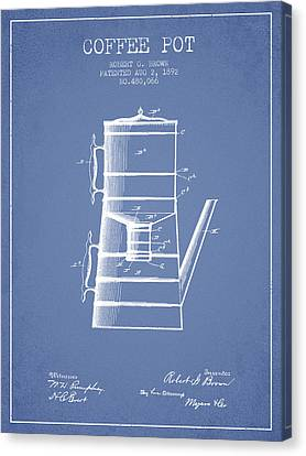 1892 Coffee Pot Patent - Light Blue Canvas Print by Aged Pixel