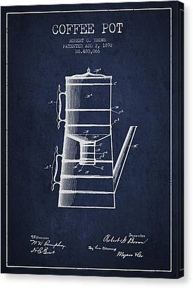 Drawing Of Lovers Canvas Print - 1892 Coffee Pot Patent - Navy Blue by Aged Pixel