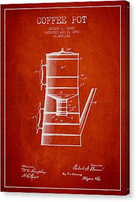 Drawing Of Lovers Canvas Print - 1892 Coffee Pot Patent - Red by Aged Pixel