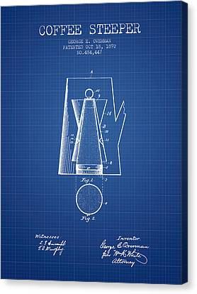1892 Coffee Steeper Patent - Blueprint Canvas Print