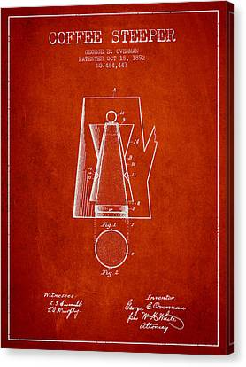 Drawing Of Lovers Canvas Print - 1892 Coffee Steeper Patent - Red by Aged Pixel