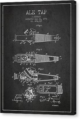 1893 Ale Tap Patent - Charcoal Canvas Print by Aged Pixel