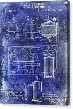 Stein Canvas Print - 1893 Beer Making Patent Blue by Jon Neidert