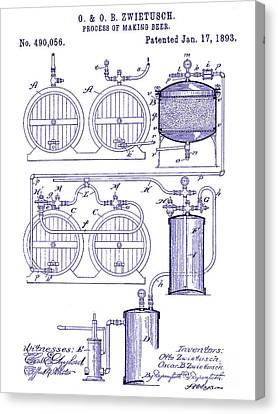 Stein Canvas Print - 1893 Beer Making Patent Blueprint by Jon Neidert