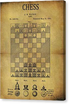 1893 Chess Game Patent Canvas Print by Dan Sproul