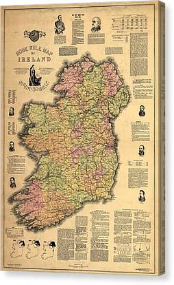 1893 Ireland Vintage Map Canvas Print by Dan Sproul