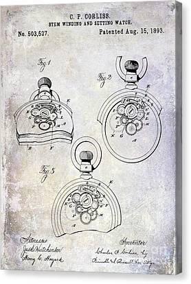 Chronometer Canvas Print - 1893 Pocket Watch Patent by Jon Neidert
