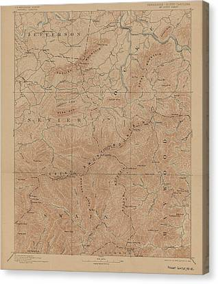 1893 Smoky Mountains National Park Map Canvas Print