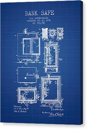 1894 Bank Safe Patent - Blueprint Canvas Print by Aged Pixel