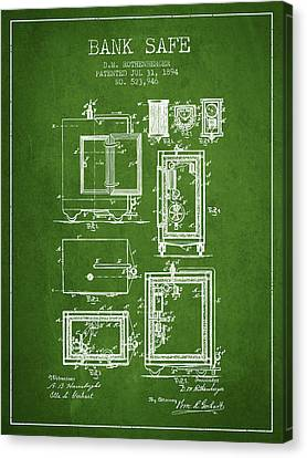 1894 Bank Safe Patent -green Canvas Print by Aged Pixel