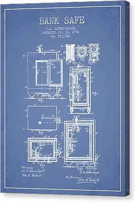 1894 Bank Safe Patent -light Blue Canvas Print by Aged Pixel