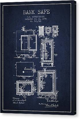 1894 Bank Safe Patent - Navy Blue Canvas Print by Aged Pixel