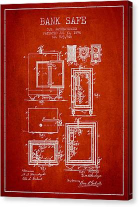 1894 Bank Safe Patent - Red Canvas Print by Aged Pixel