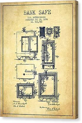 1894 Bank Safe Patent - Vintage Canvas Print by Aged Pixel