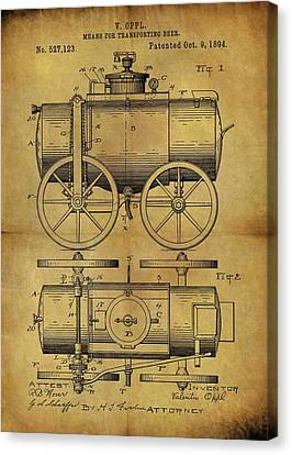 1894 Beer Wagon Patent Canvas Print