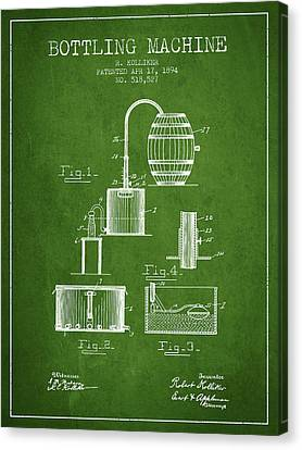 1894 Bottling Machine Patent - Green Canvas Print by Aged Pixel