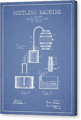 1894 Bottling Machine Patent - Light Blue Canvas Print by Aged Pixel