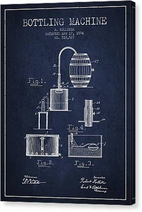1894 Bottling Machine Patent - Navy Blue Canvas Print by Aged Pixel