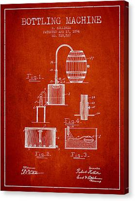 1894 Bottling Machine Patent - Red Canvas Print by Aged Pixel