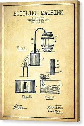 1894 Bottling Machine Patent - Vintage Canvas Print by Aged Pixel