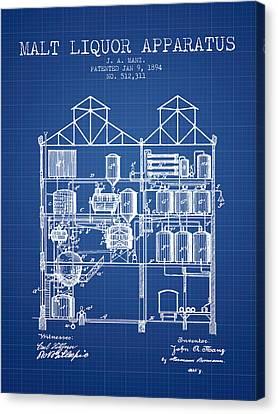 1894 Malt Liquor Apparatus Patent - Blueprint Canvas Print by Aged Pixel