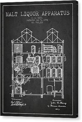 1894 Malt Liquor Apparatus Patent - Charcoal Canvas Print by Aged Pixel
