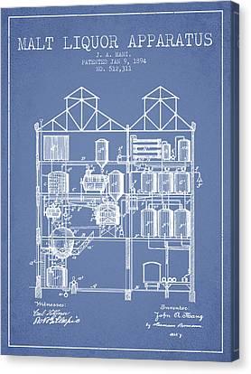 1894 Malt Liquor Apparatus Patent - Light Blue Canvas Print by Aged Pixel