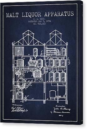 1894 Malt Liquor Apparatus Patent - Navy Blue Canvas Print by Aged Pixel