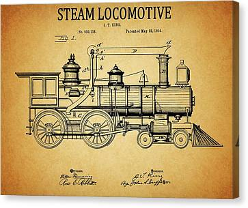 1894 Steam Locomotive Patent Canvas Print by Dan Sproul