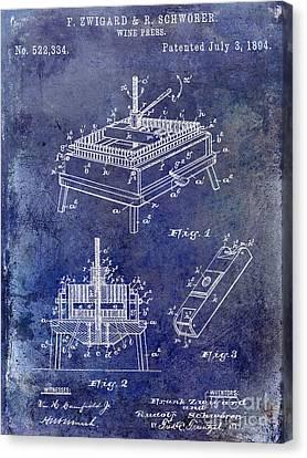 1894 Wine Press Patent Blue Canvas Print