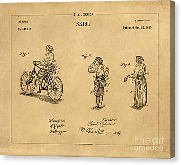 1895 Convertible Bicycle Skirt Patent 1 Canvas Print