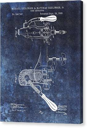 Vino Canvas Print - 1895 Corkscrew Patent by Dan Sproul