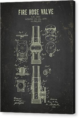 Gear Canvas Print - 1895 Fire Hose Valve Patent- Dark Grunge by Aged Pixel