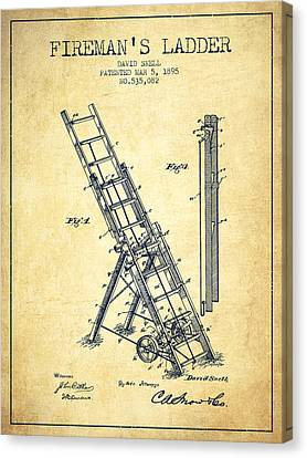 1895 Firemans Ladder Patent - Vintage Canvas Print by Aged Pixel