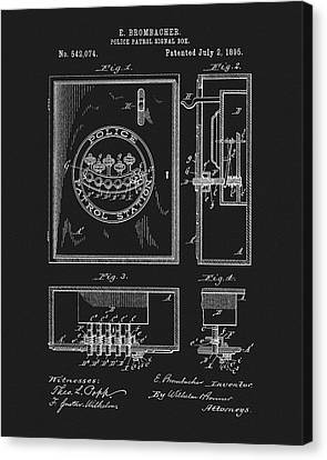 Officer Canvas Print - 1895 Police Patrol Box Patent by Dan Sproul