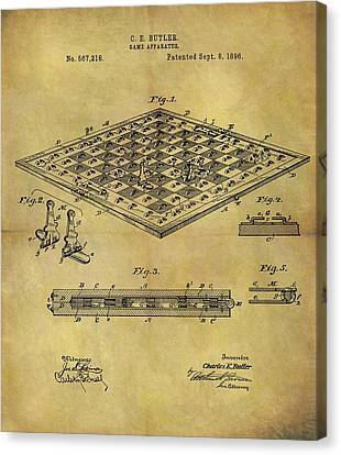 1896 Chess Set Patent Canvas Print by Dan Sproul