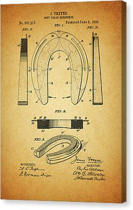 1896 Horseshoe Patent Canvas Print by Dan Sproul