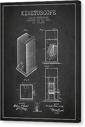 1896 Kinetoscope Patent - Charcoal Canvas Print by Aged Pixel