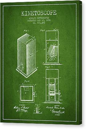 1896 Kinetoscope Patent - Green Canvas Print by Aged Pixel