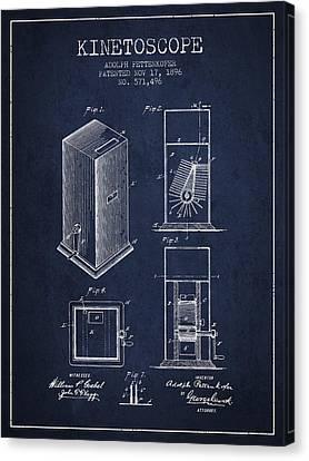1896 Kinetoscope Patent - Navy Blue Canvas Print