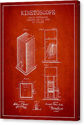 1896 Kinetoscope Patent - Red Canvas Print by Aged Pixel