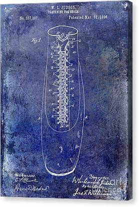 1896 Shoe Patent Blue Canvas Print by Jon Neidert