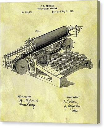 Remington Canvas Print - 1896 Typewriter Patent by Dan Sproul