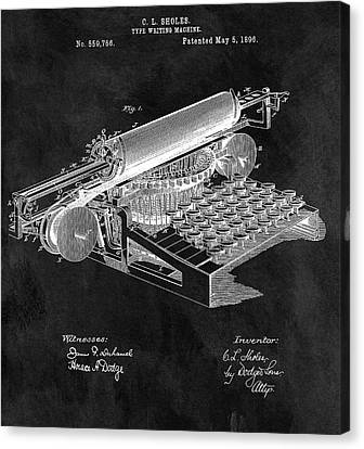 Remington Canvas Print - 1896 Typewriter Patent Illustration by Dan Sproul