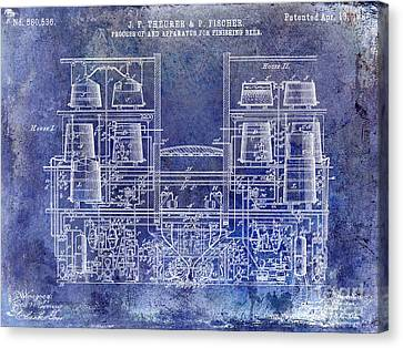 1897 Beer Brewering Patent Blue Canvas Print by Jon Neidert