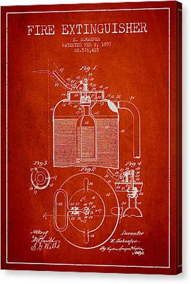 1897 Fire Extinguisher Patent - Red Canvas Print by Aged Pixel