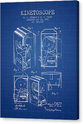 1897 Kinetoscope Patent - Blueprint Canvas Print by Aged Pixel