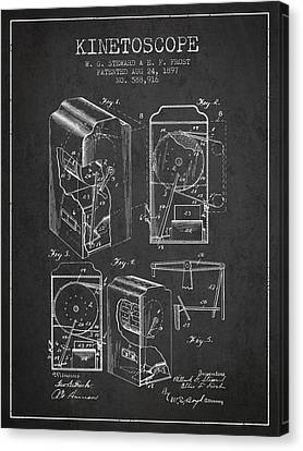 1897 Kinetoscope Patent - Charcoal Canvas Print by Aged Pixel
